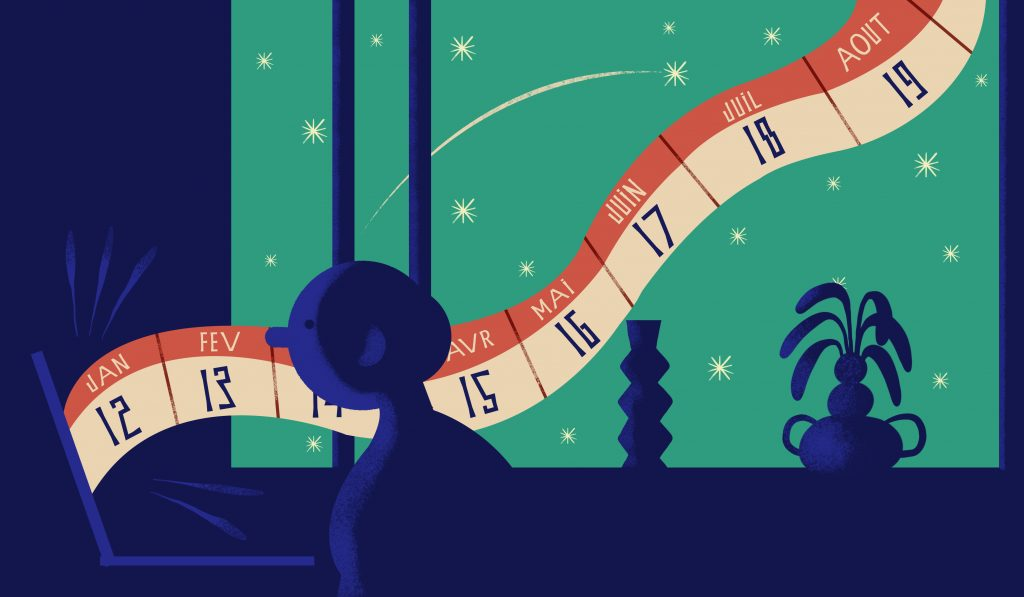 Calendrier éditorial illustration by Charlotte Molas